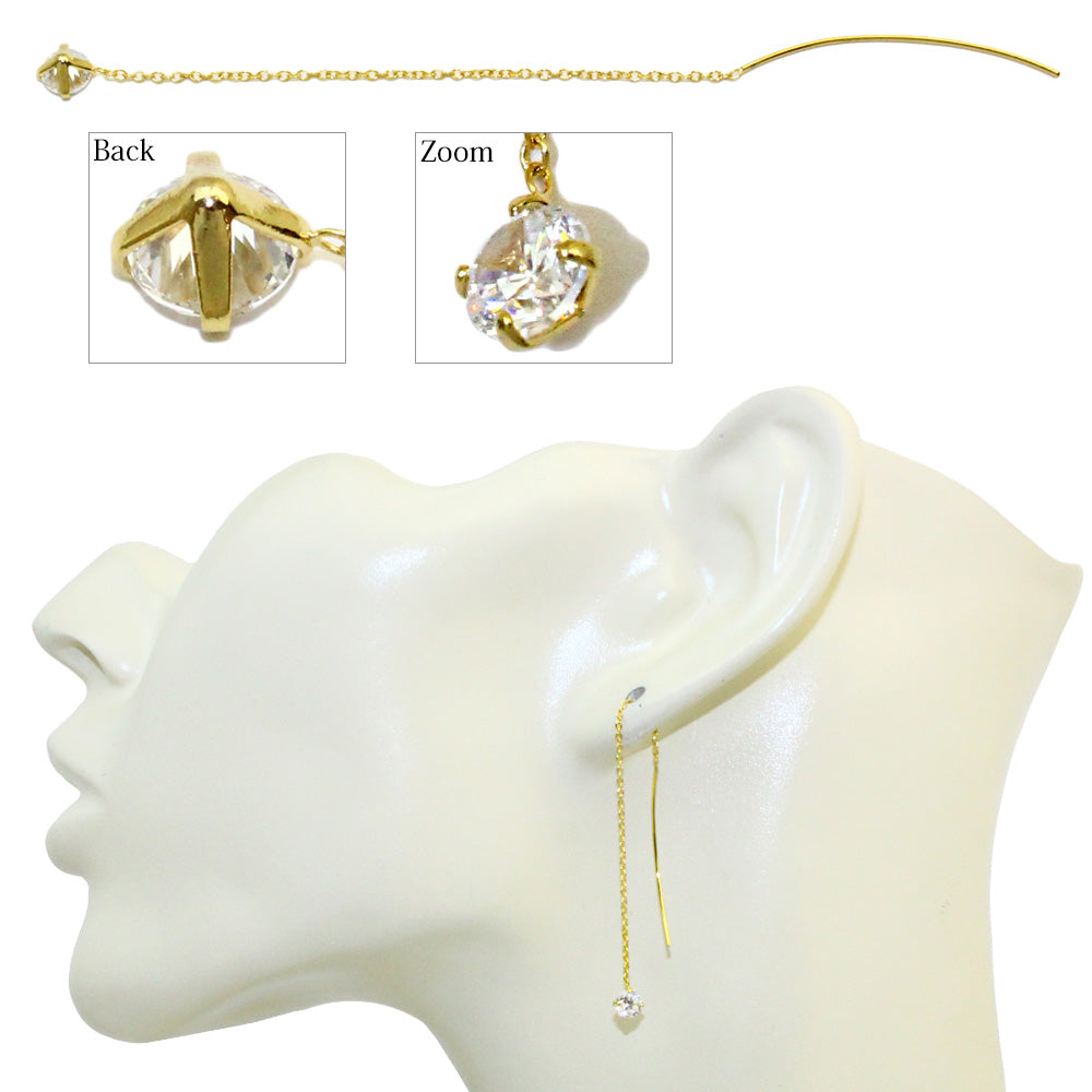 Cubic Zirconia Thread Through Earrings - Osewaya