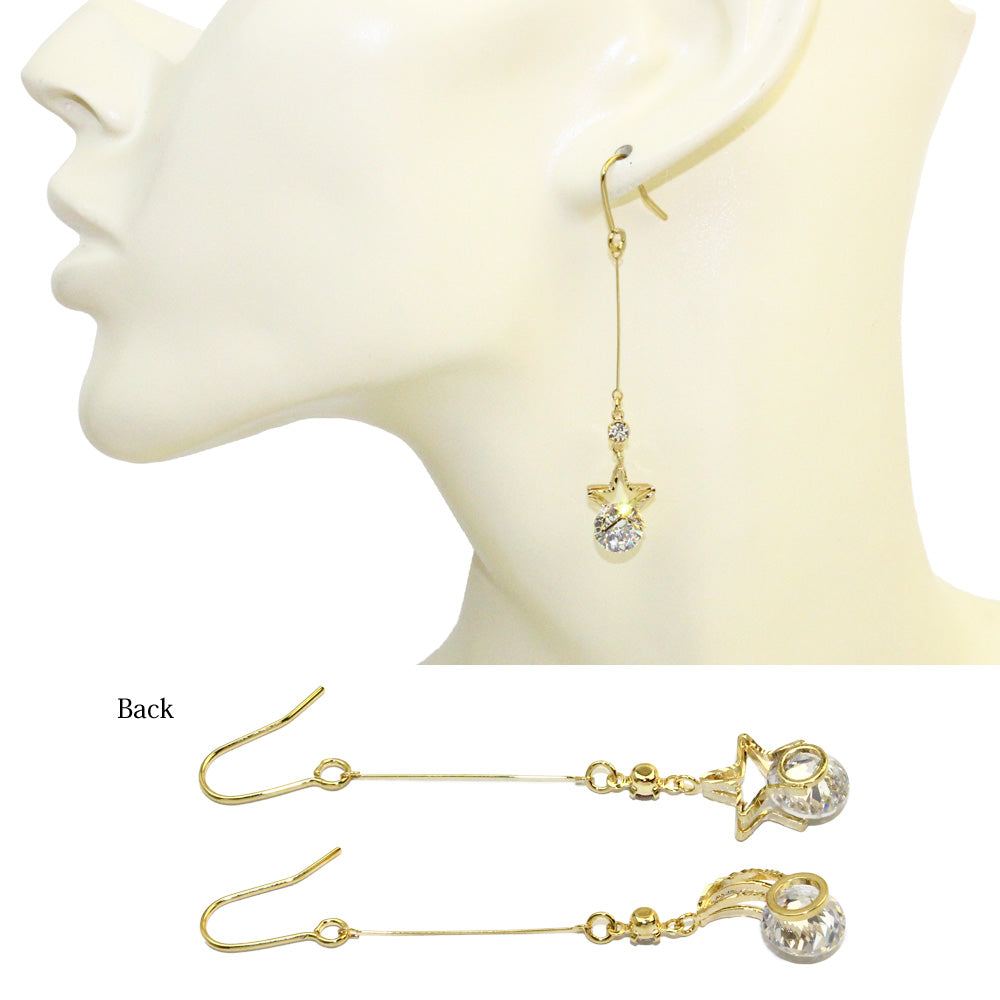 Cubic Zirconia Moon and Star Earrings - Osewaya