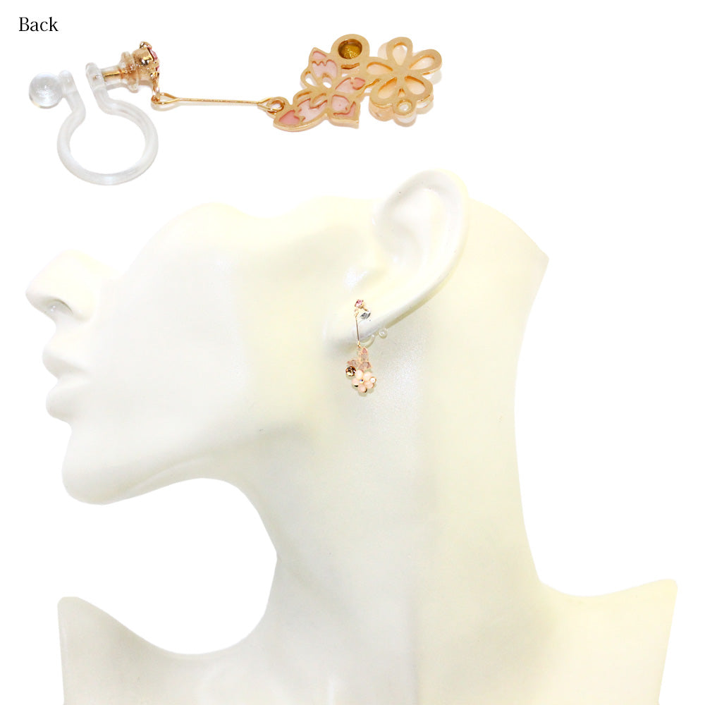 Butterfly and Flower Dangle Invisible Earrings