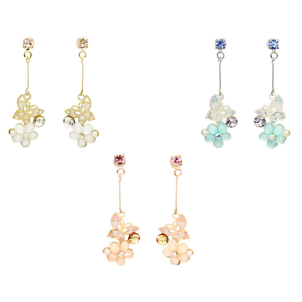 Butterfly and Flower Dangle Invisible Earrings - Osewaya