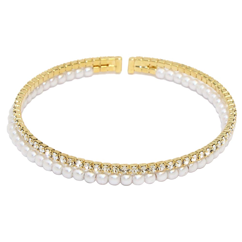 Pearl Rhinestone Bangle - Osewaya