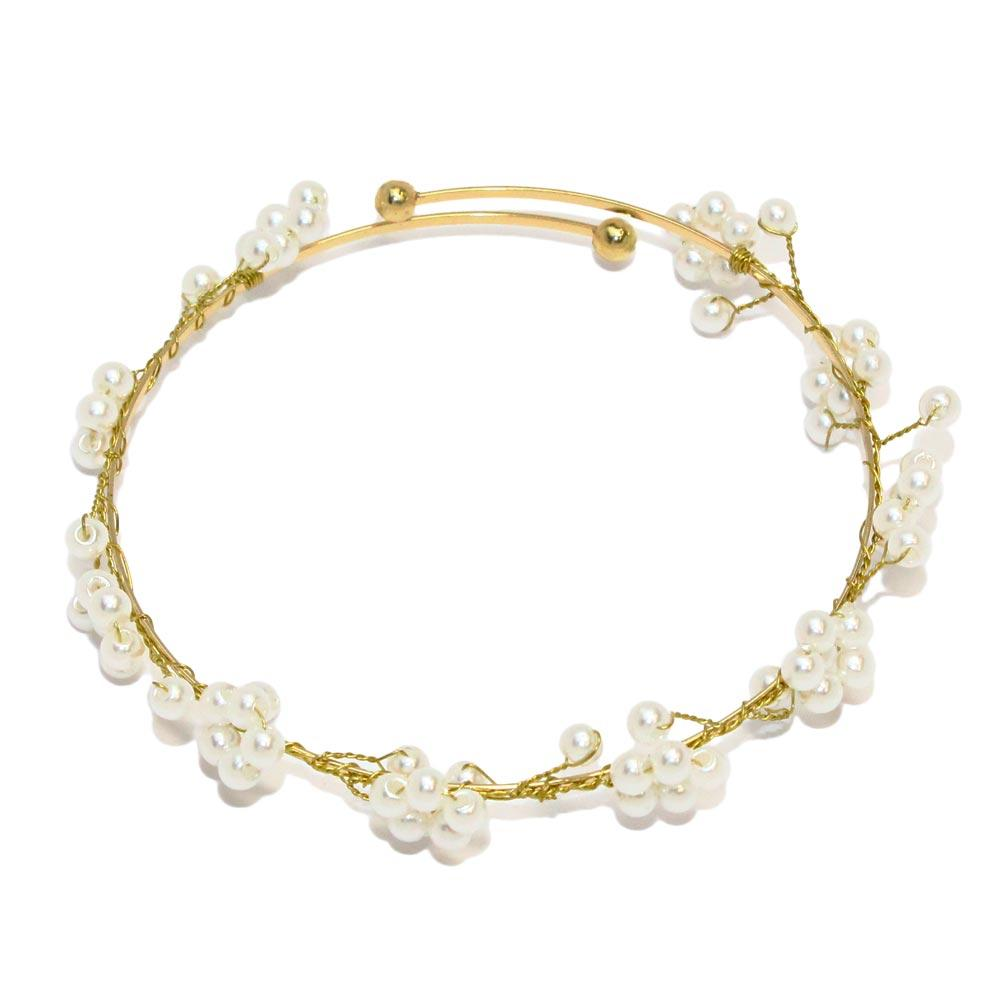 Gold and Silver Bunched Pearl  Bracelet - Osewaya