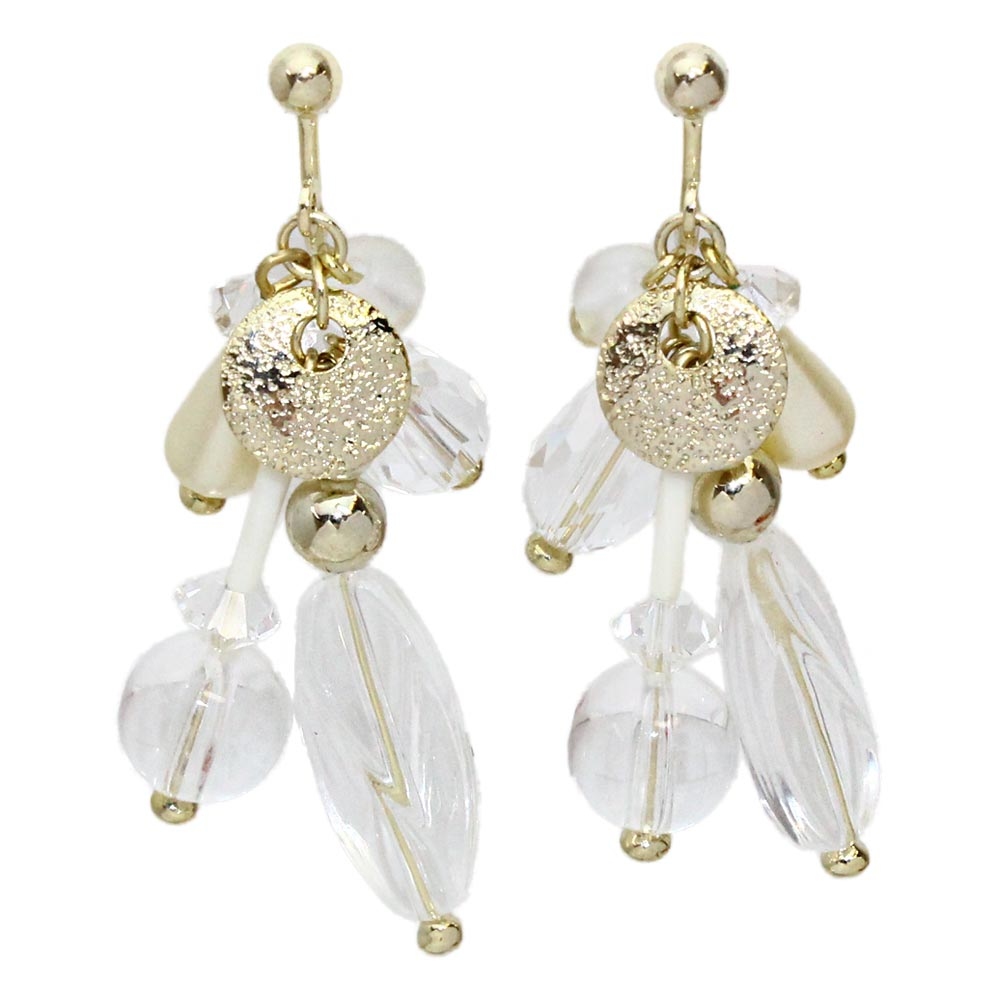 osewaya - Multi Beads Drop Clip On Earrings - OSEWAYA - Earrings