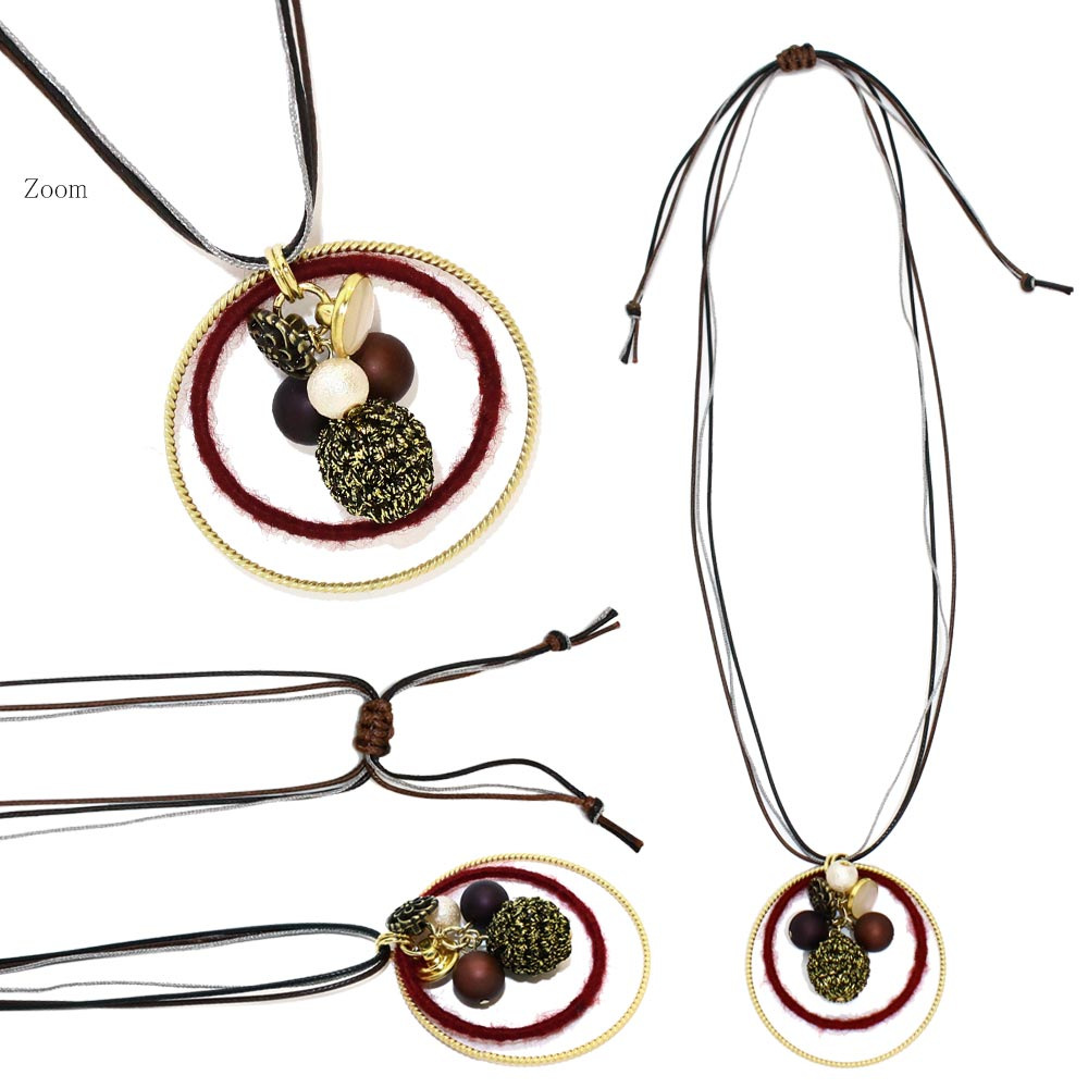 Double Hoop Wax String Necklace - Osewaya