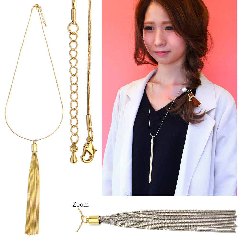 Metallic Tassel Necklace - Osewaya