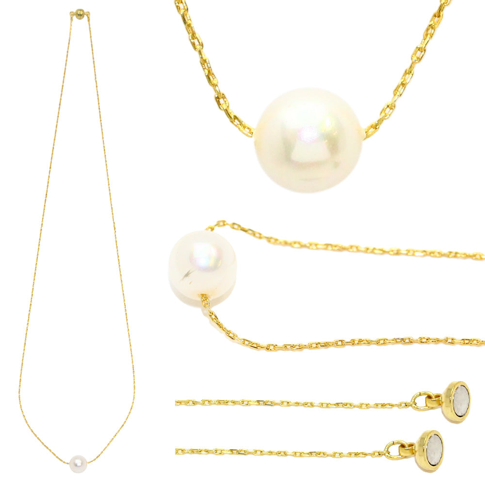 Pearl Necklace with Gold and Silver Magnetic Clasp Necklace - Osewaya