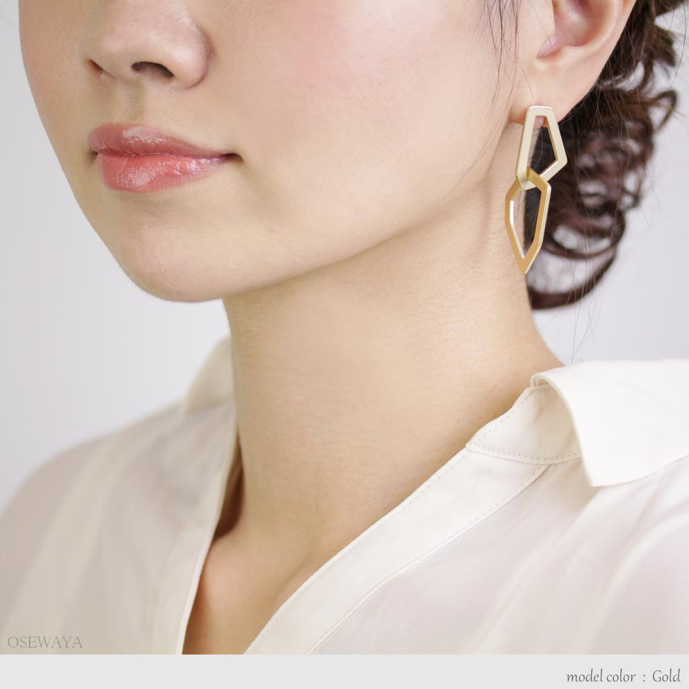 Matte Square Link Earrings - Osewaya