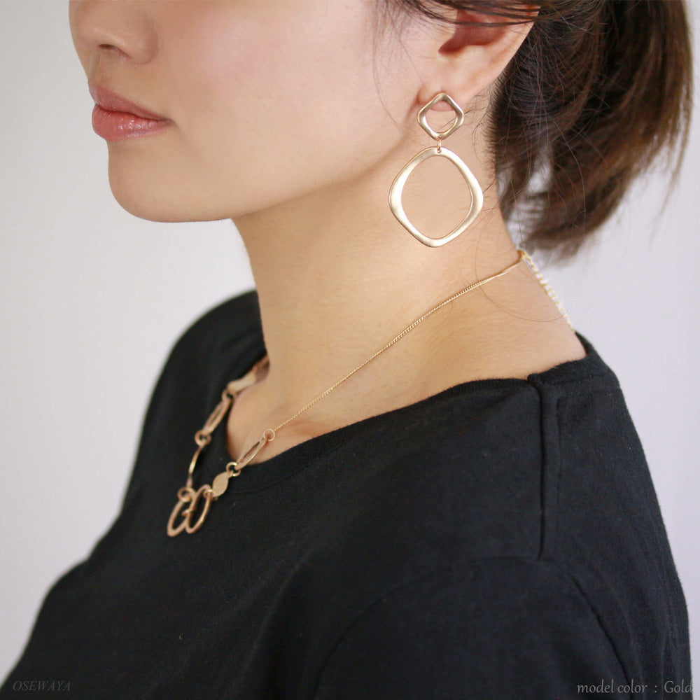 Textured Link Hoop Earrings - Osewaya