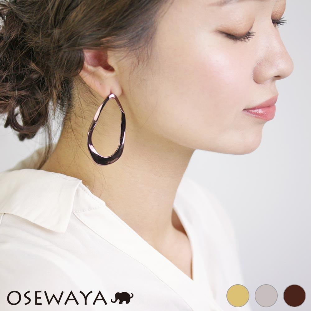 Distressed Metal Drop Hoop Earrings - Osewaya