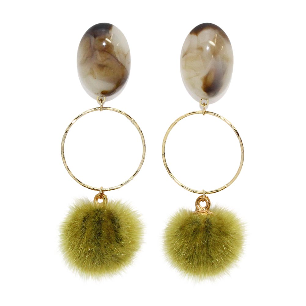 Pom Pom Hoop Earrings - Osewaya
