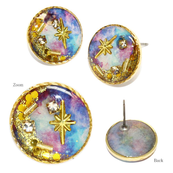 Starry Sky Flat Disk Earrings