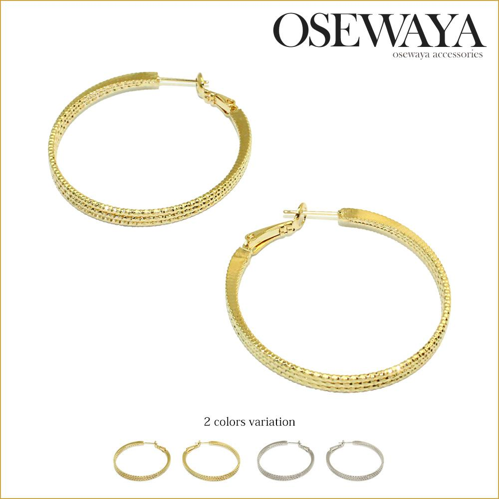 Rope Textured Hoop Earrings - Osewaya