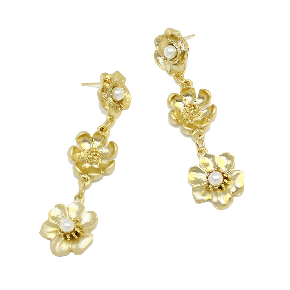 Triple Flower Drop Earrings - Osewaya