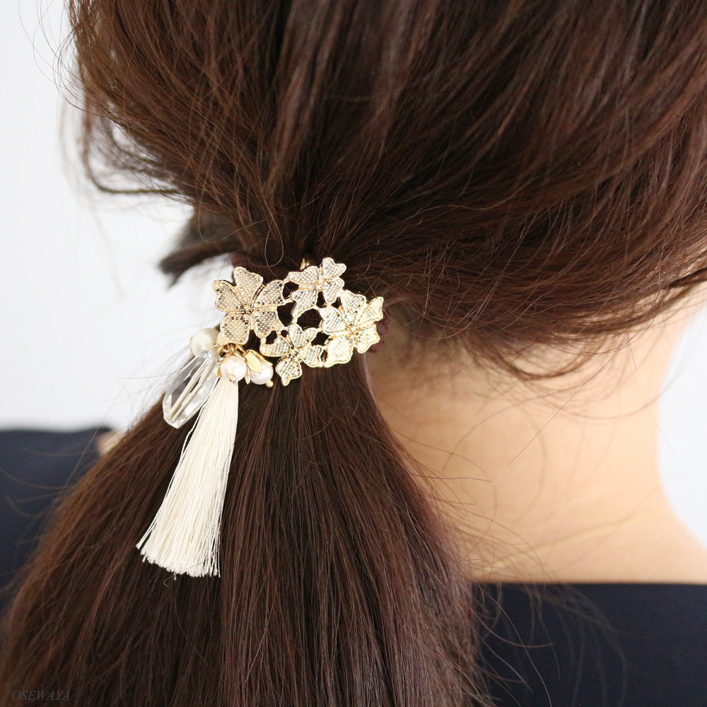 Tassel and Flower Ornate Hair Hook - Osewaya