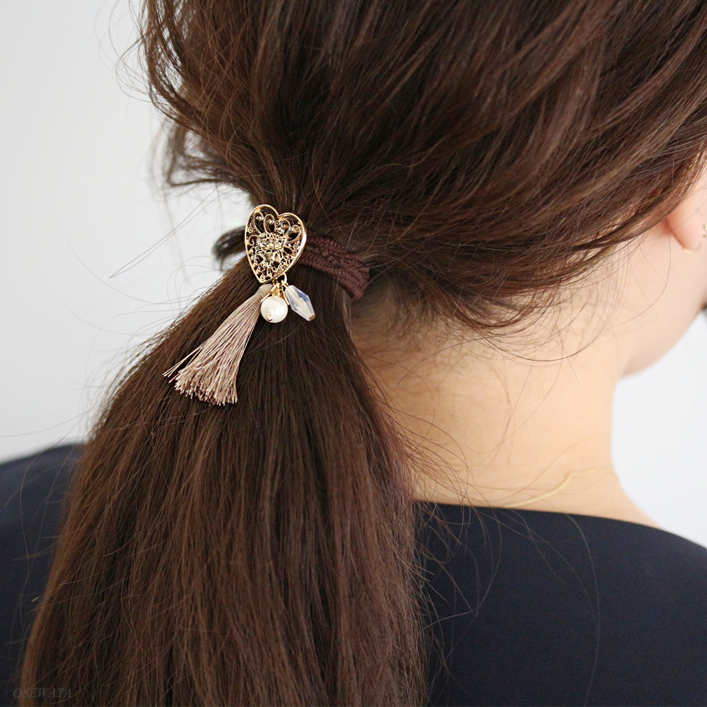Filigree Heart Tassel Hair Hook - Osewaya