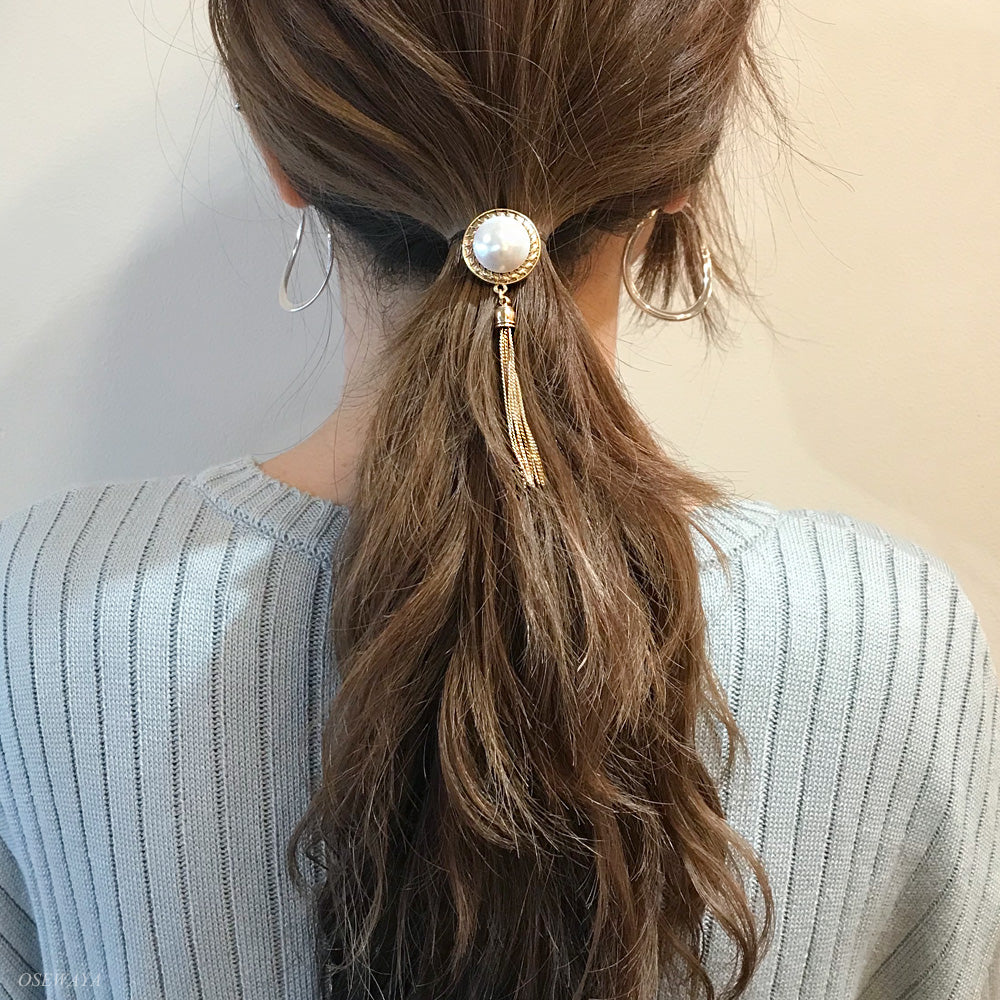 Pearl Dome Chain Tassel Hair Hook - Osewaya