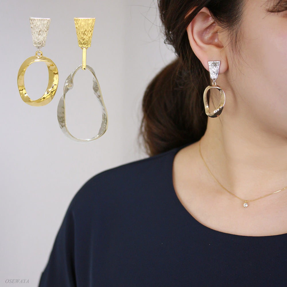 Twisted Hoop Asymmetrical Clip On Earrings - Osewaya
