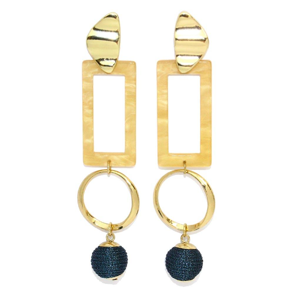 Wrapped Beads Geometric Earrings - Osewaya