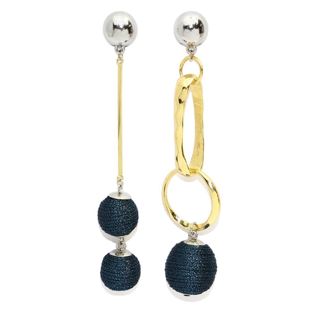 Wrapped Beads Link Hoop Earrings - Osewaya