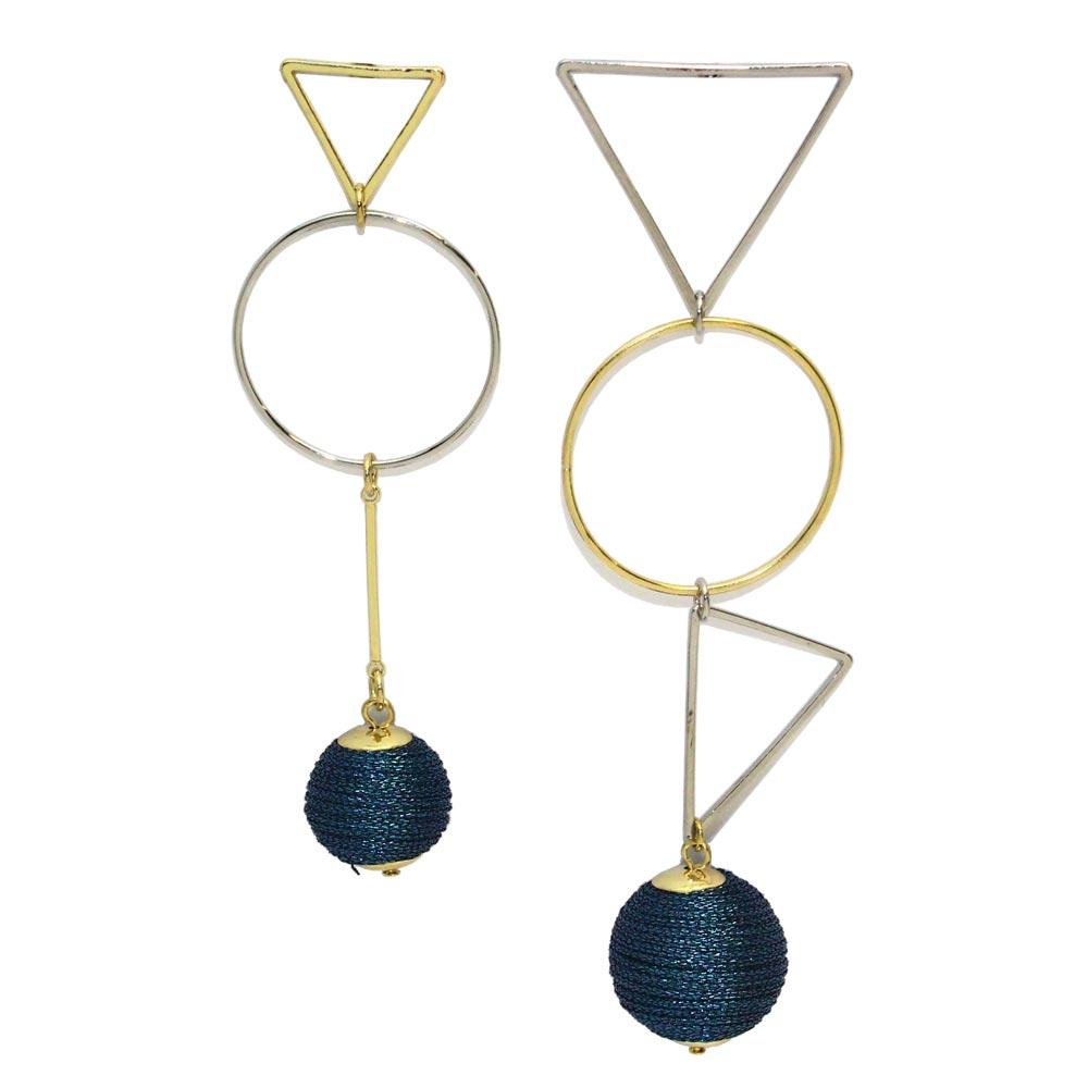 Thread Beads Geometric Link Earrings - Osewaya