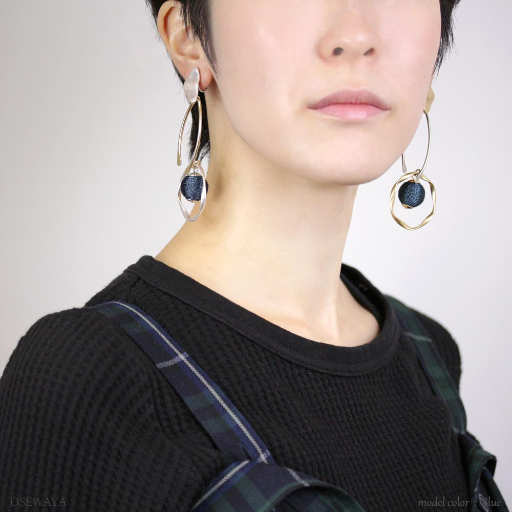 Thread Beads Waved Hoop Clip On Earrings - Osewaya
