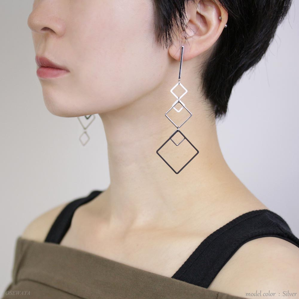 Multi Square Hoop Clip On Earrings - Osewaya