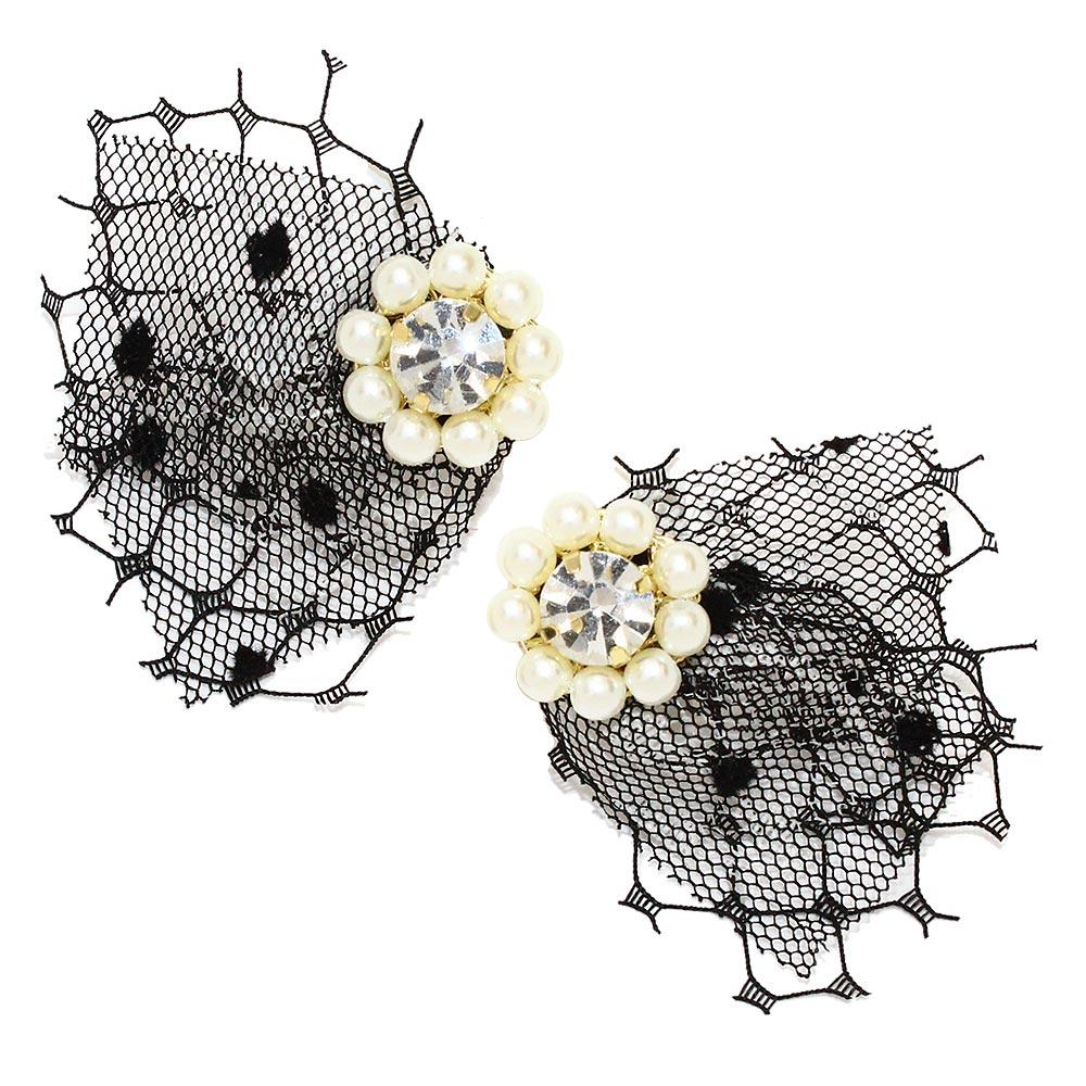 Pearl Bunch and Lace Clip On Earrings - Osewaya