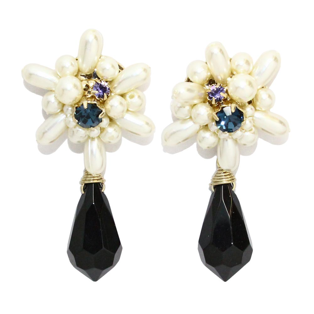 Cluster Pearl Pointy Drop Clip On Earrings - Osewaya