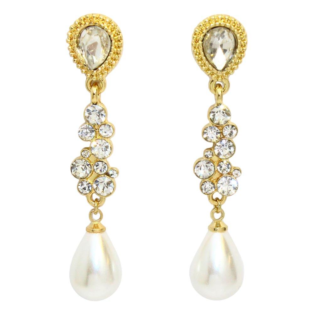 Diamante Drop Pearl Earrings - Osewaya