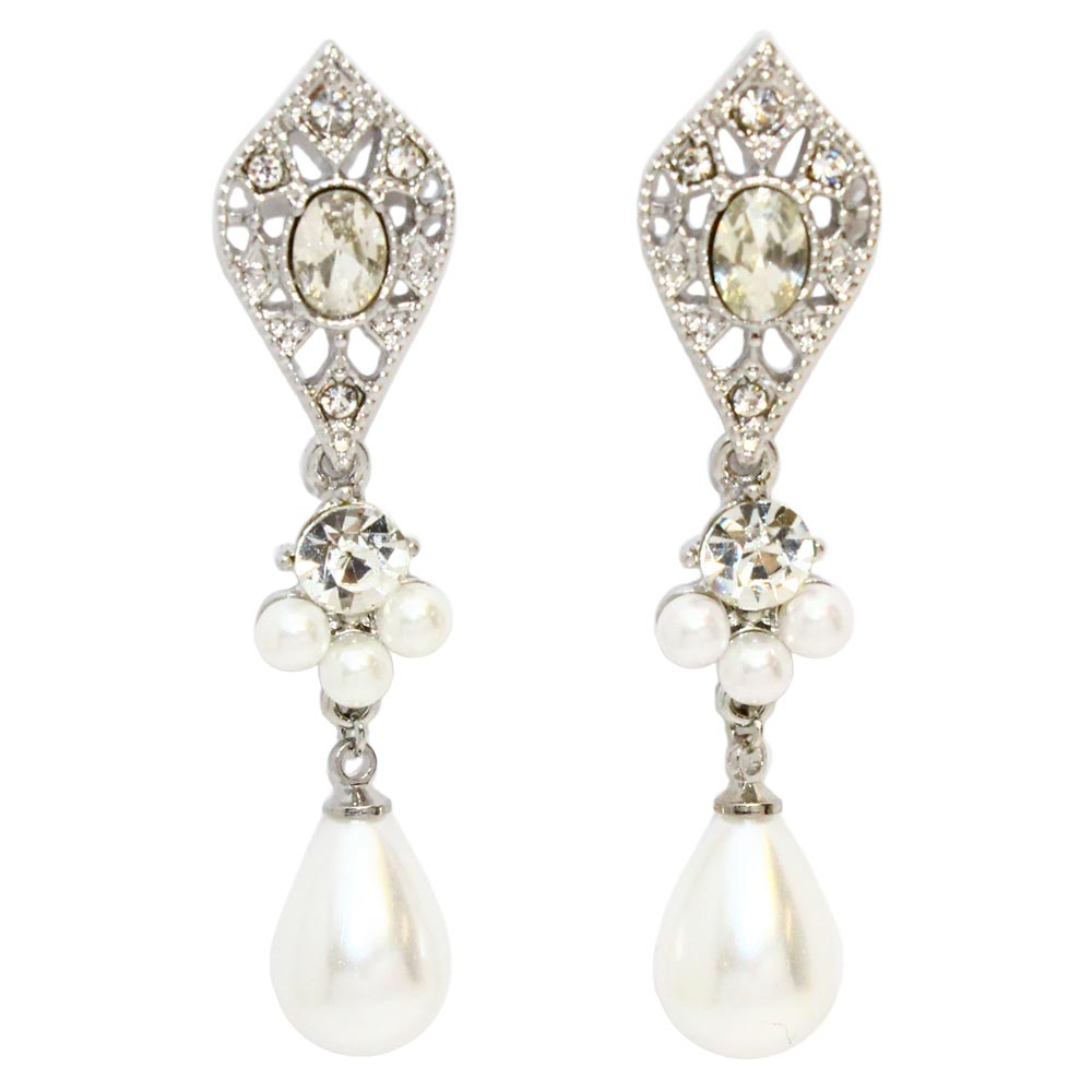 Teardrop Pearl Rhinestone Earrings - Osewaya