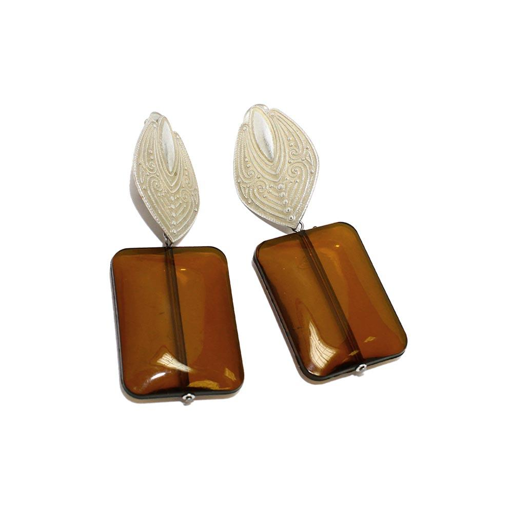 Patterned Petal and Large Square Stone Clip On Earrings - Osewaya