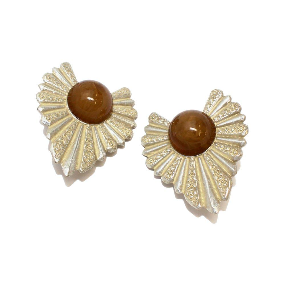 Patterned Leaf and Acrylic Stone Clip On Earrings - Osewaya