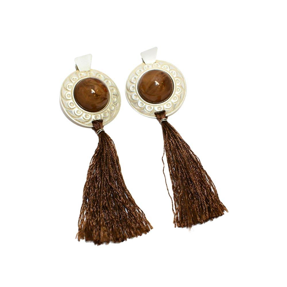 Silvertone Button Tassel Clip On Earrings - Osewaya