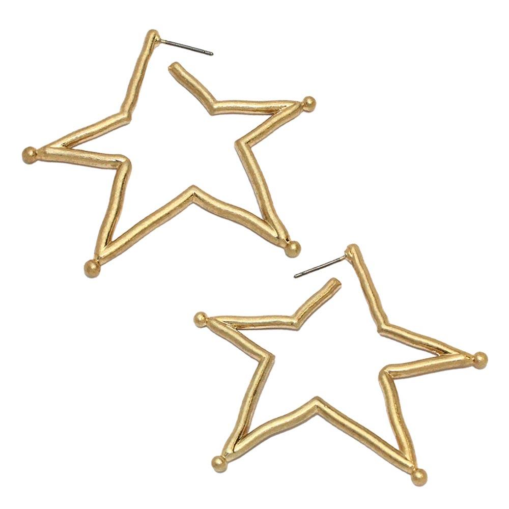 Gold and Silver Hollow Star Earrings - Osewaya