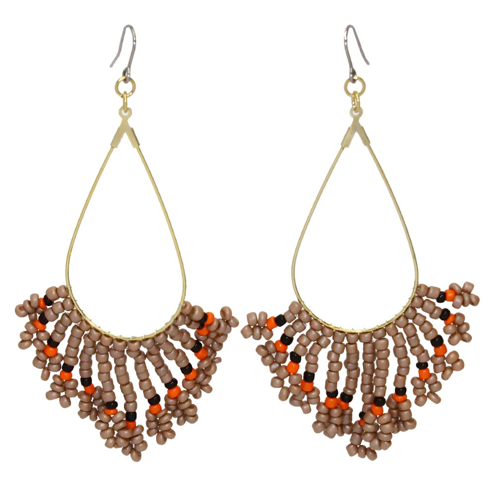 Beaded Teardrop Hoop Earrings - Osewaya