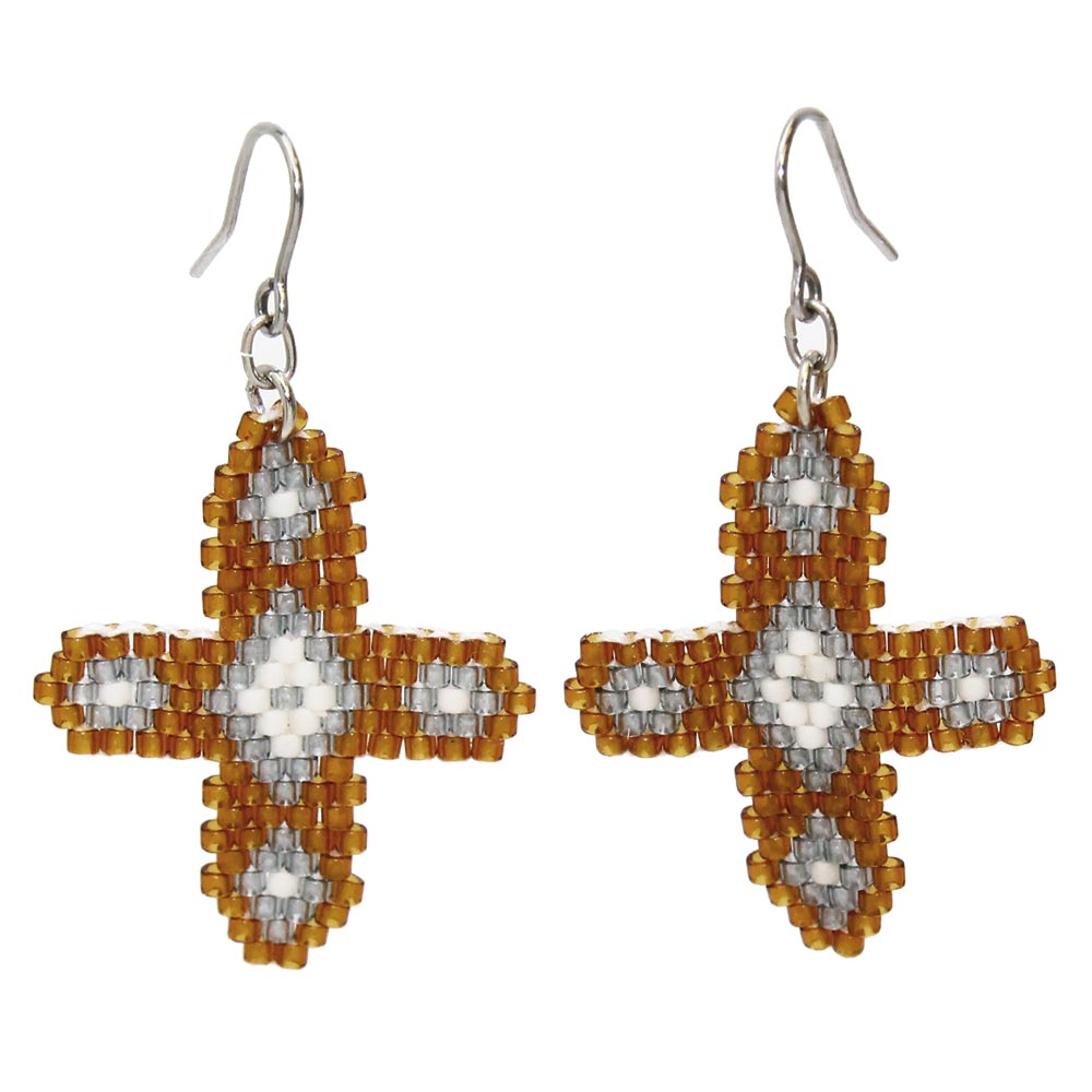 Beaded Cross Hook Earrings - Osewaya