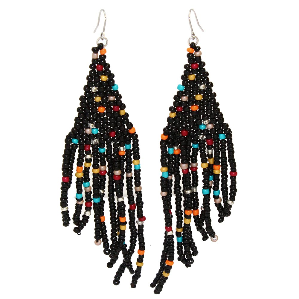 Long Beaded Fringe Earrings - Osewaya