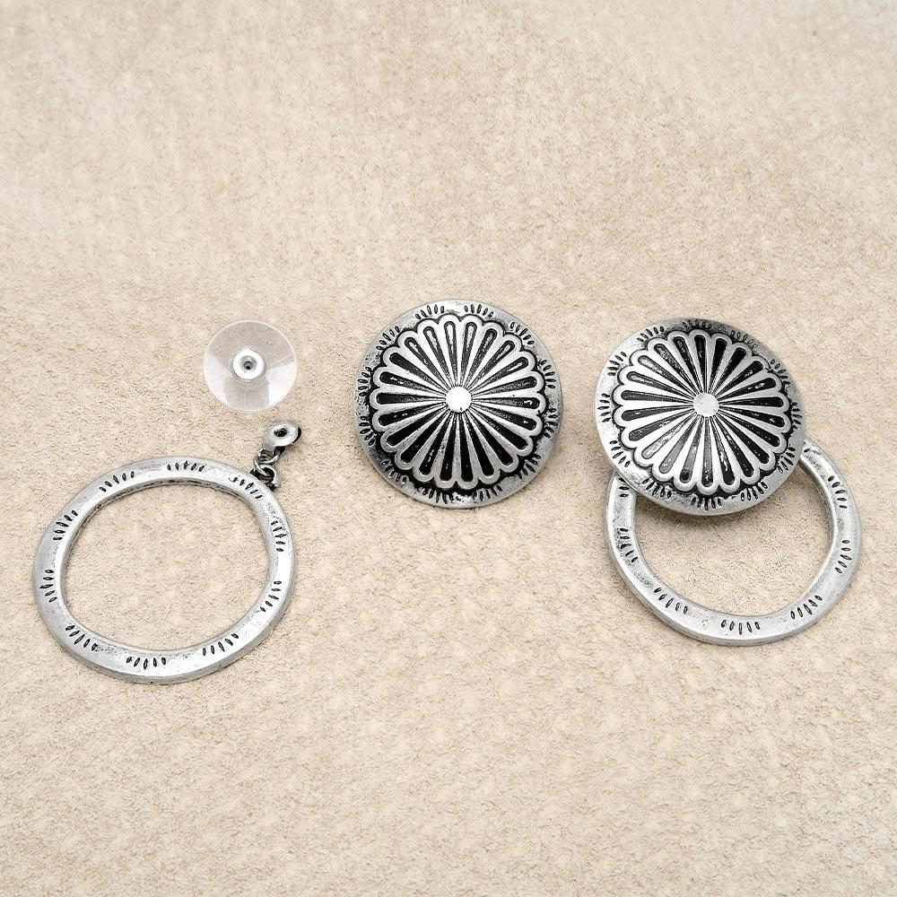 Concho and Circle 2way Earrings - Osewaya