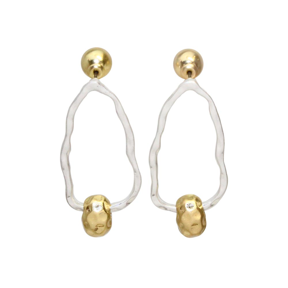 Distorted Oval Hoop 2way Earrings - Osewaya