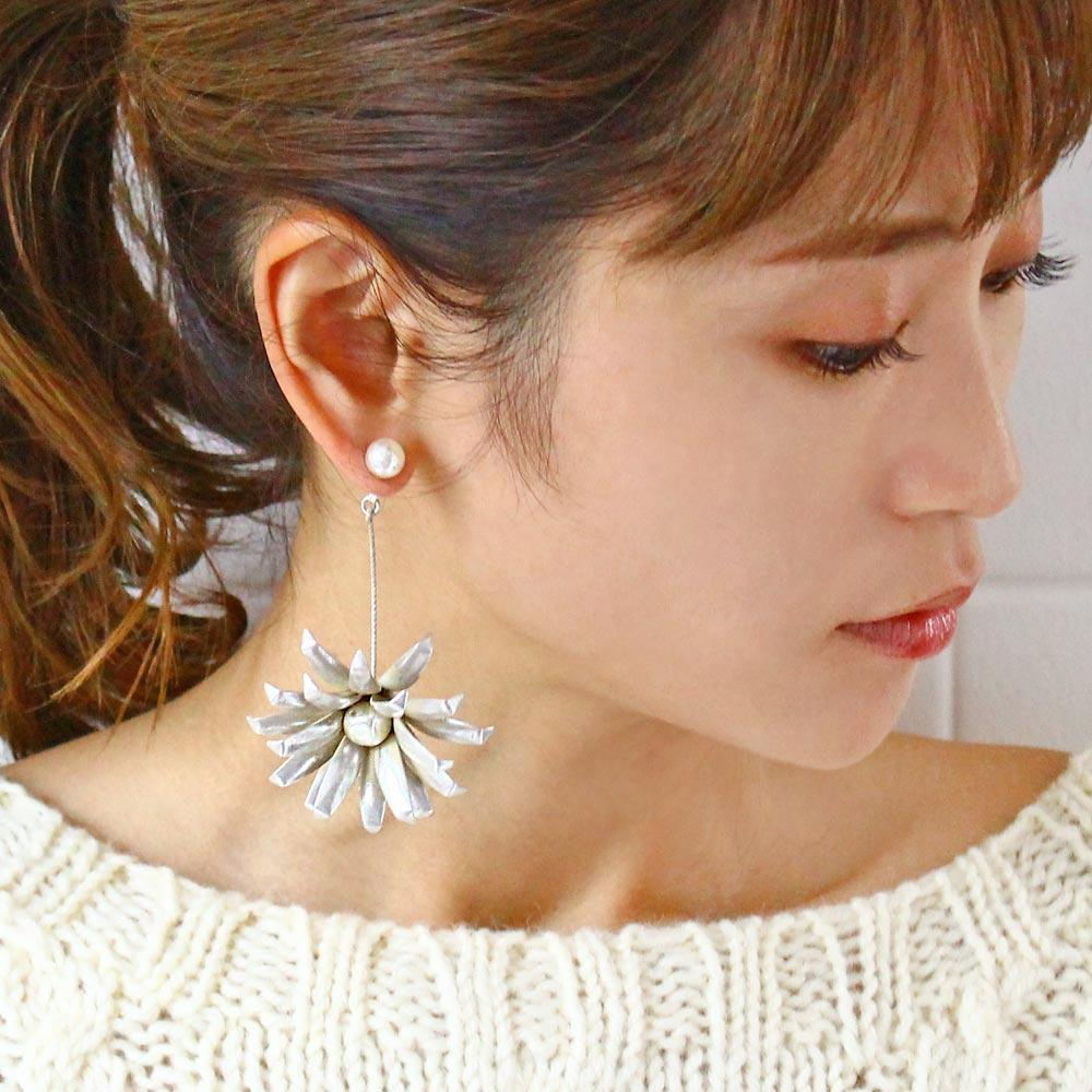 Flower Swing Front Back Earrings - Osewaya