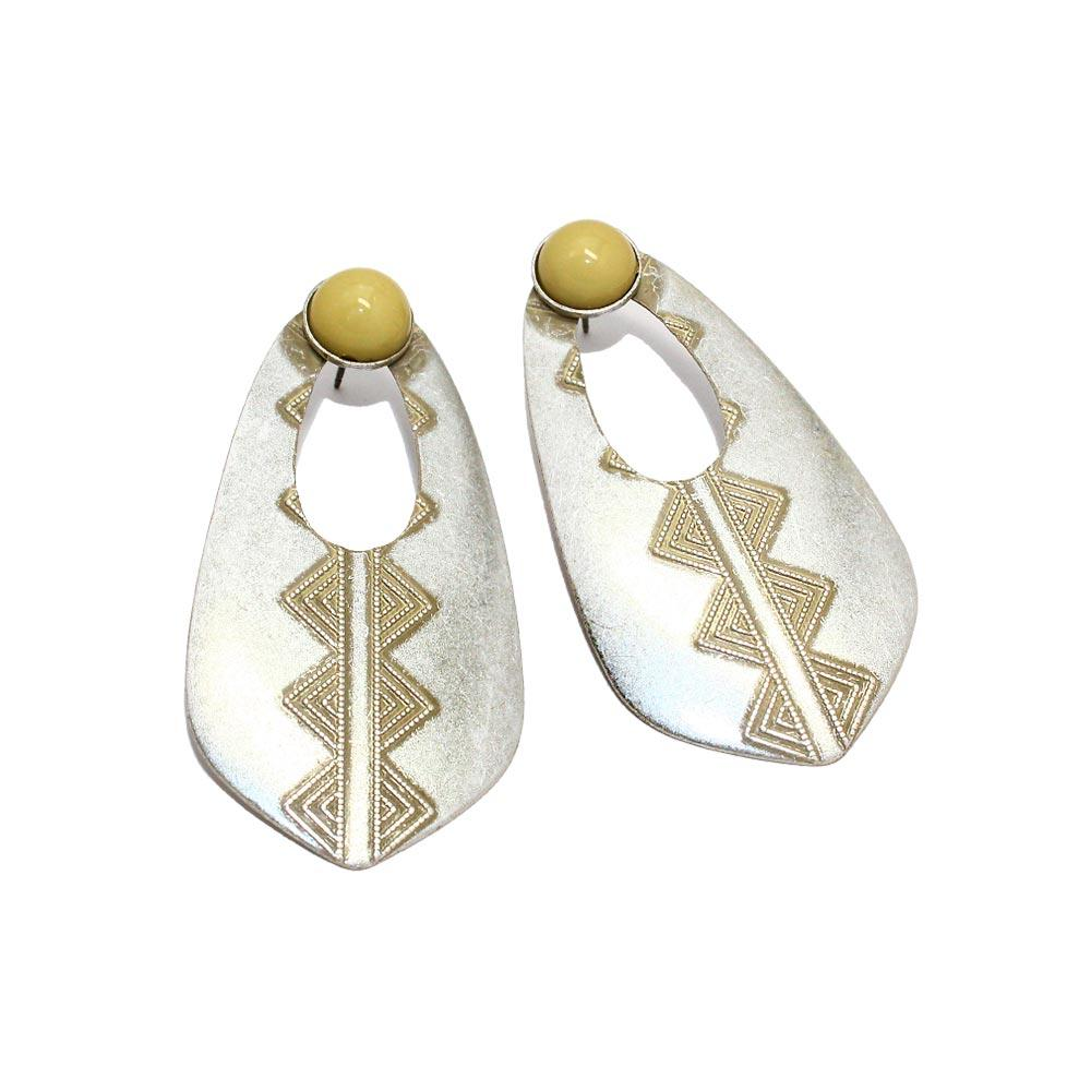 Tribal Pattern Teardrop Earrings - Osewaya