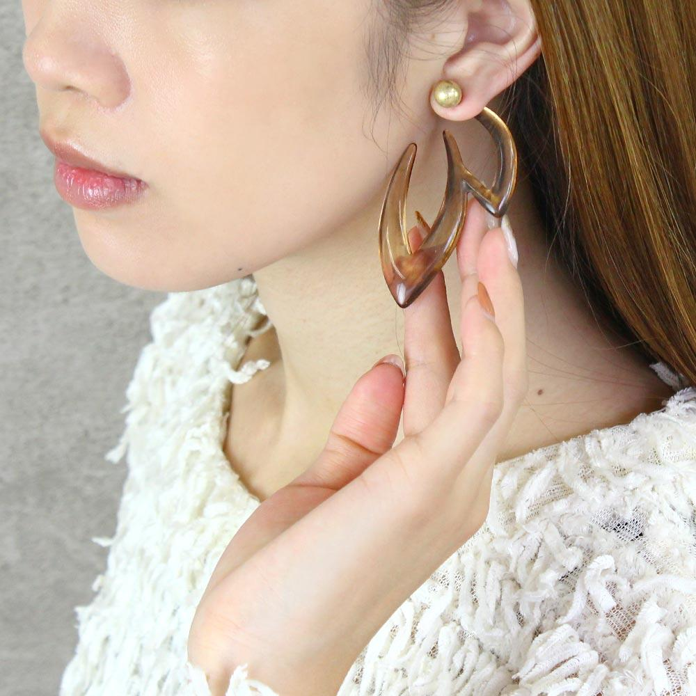 Smoked Translucent Big Ivy Front Back Earrings