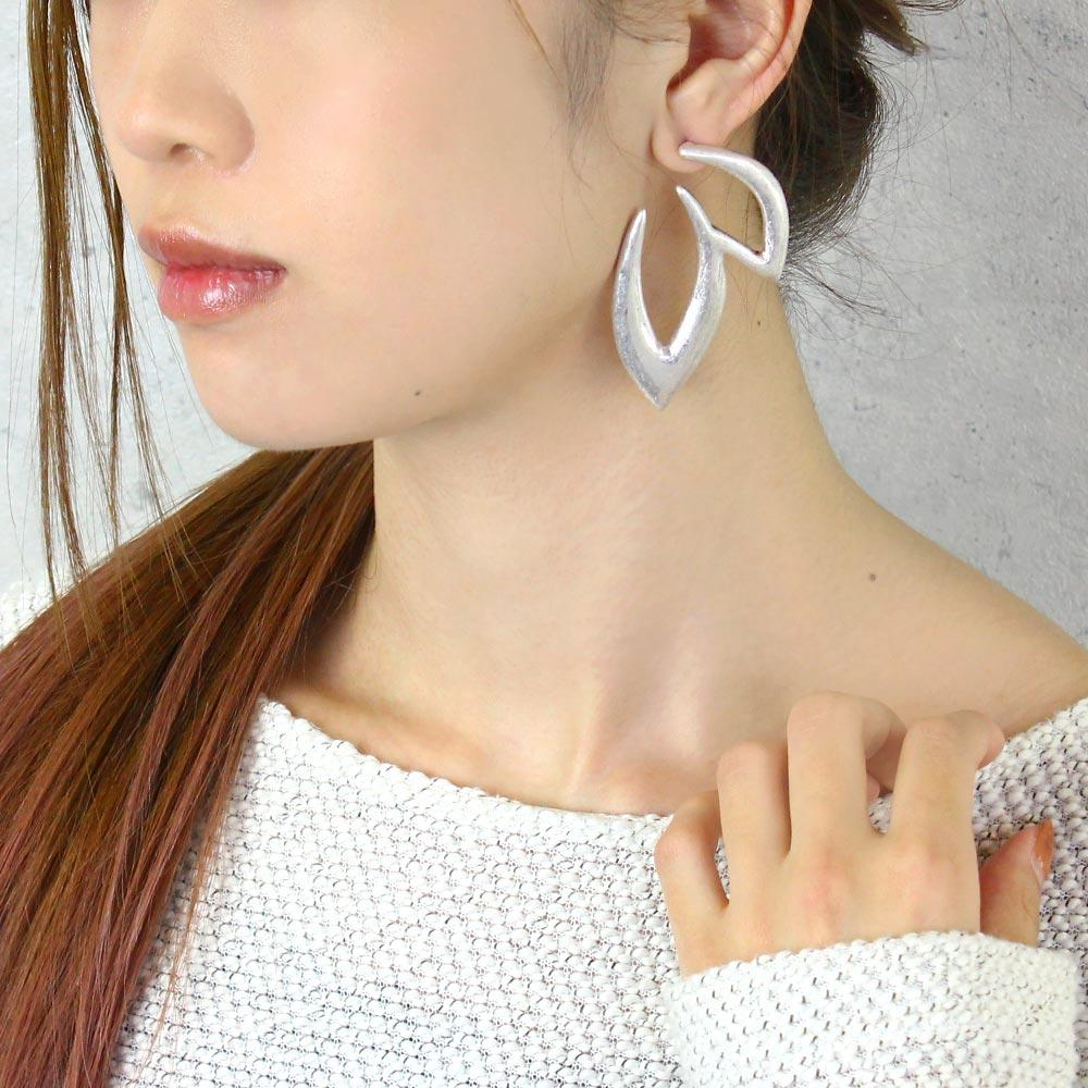 Silver-Tone Big Ivy Front Back Earrings
