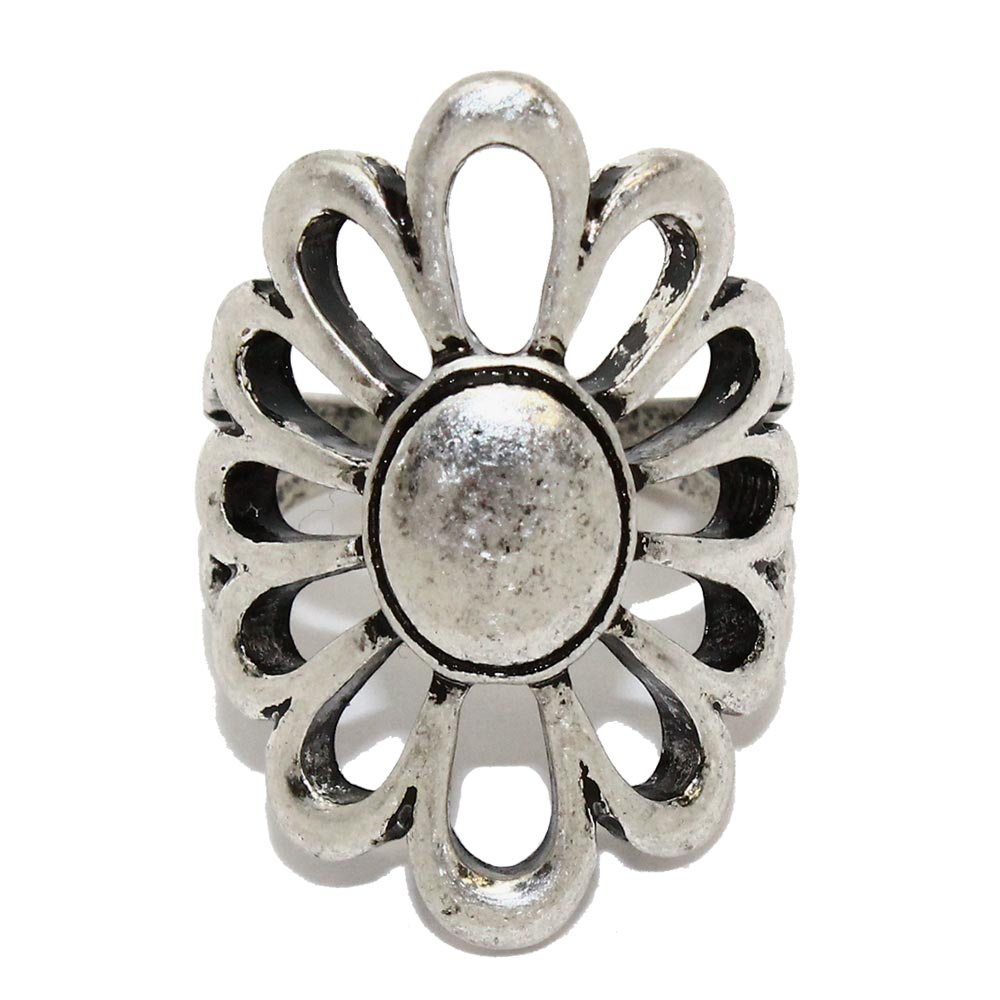 Nickel Free Openwork Flower Ring - Osewaya