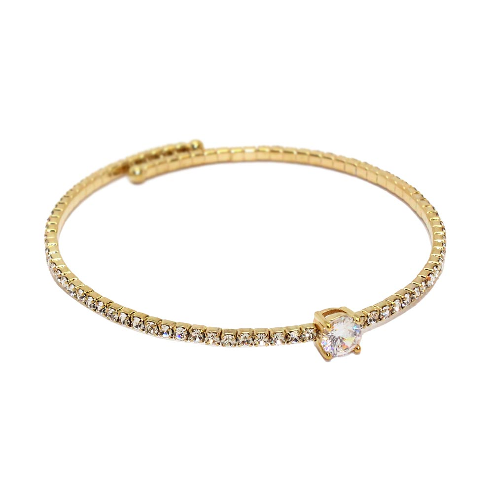 Cubic Zirconia Rhinestone Bangle - Osewaya