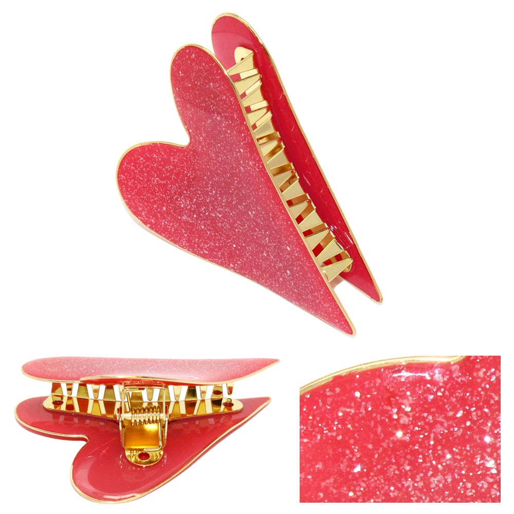 Sparkle Happy Heart Hair Jaw Clip
