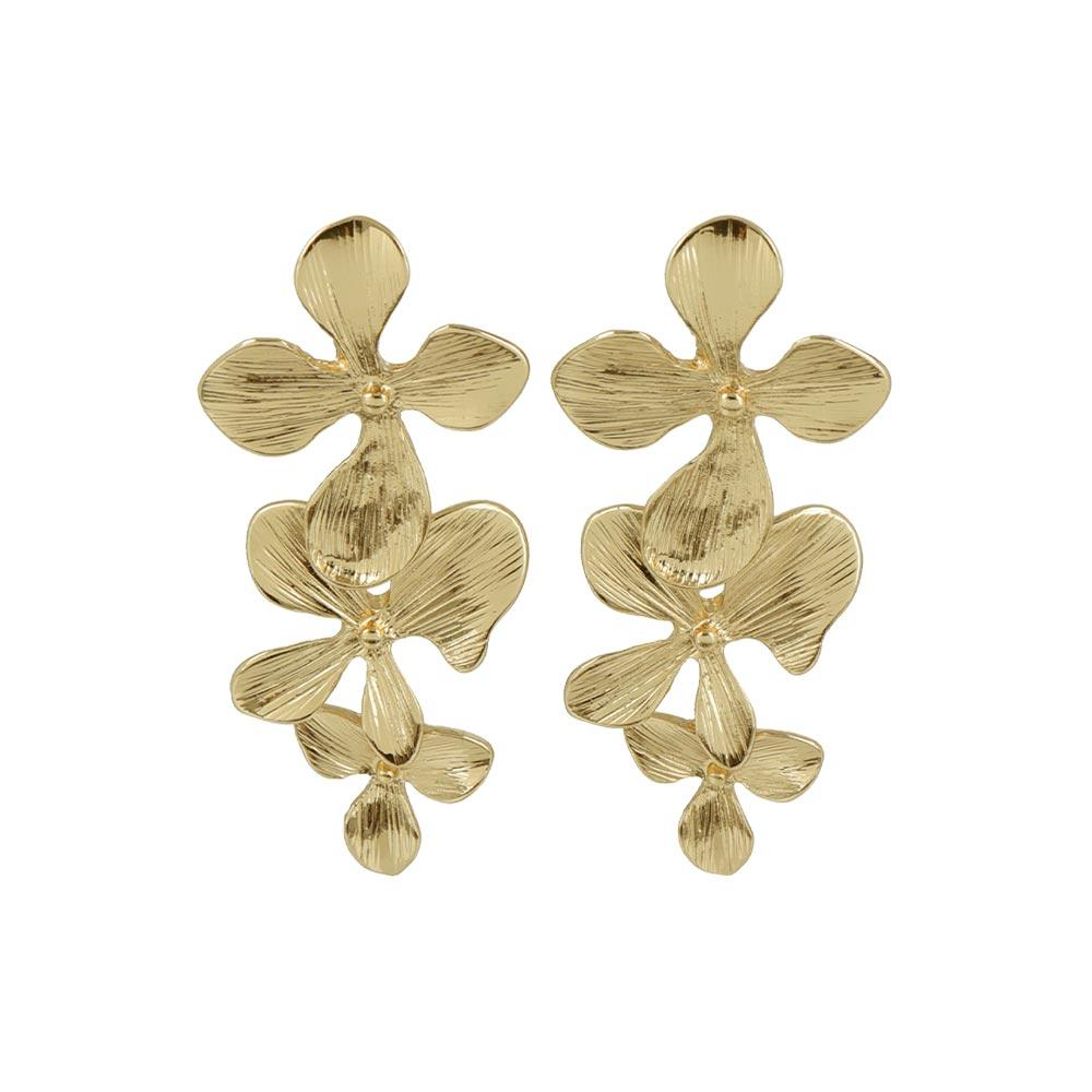 Triple Drop Flower Clip On Earrings - osewaya