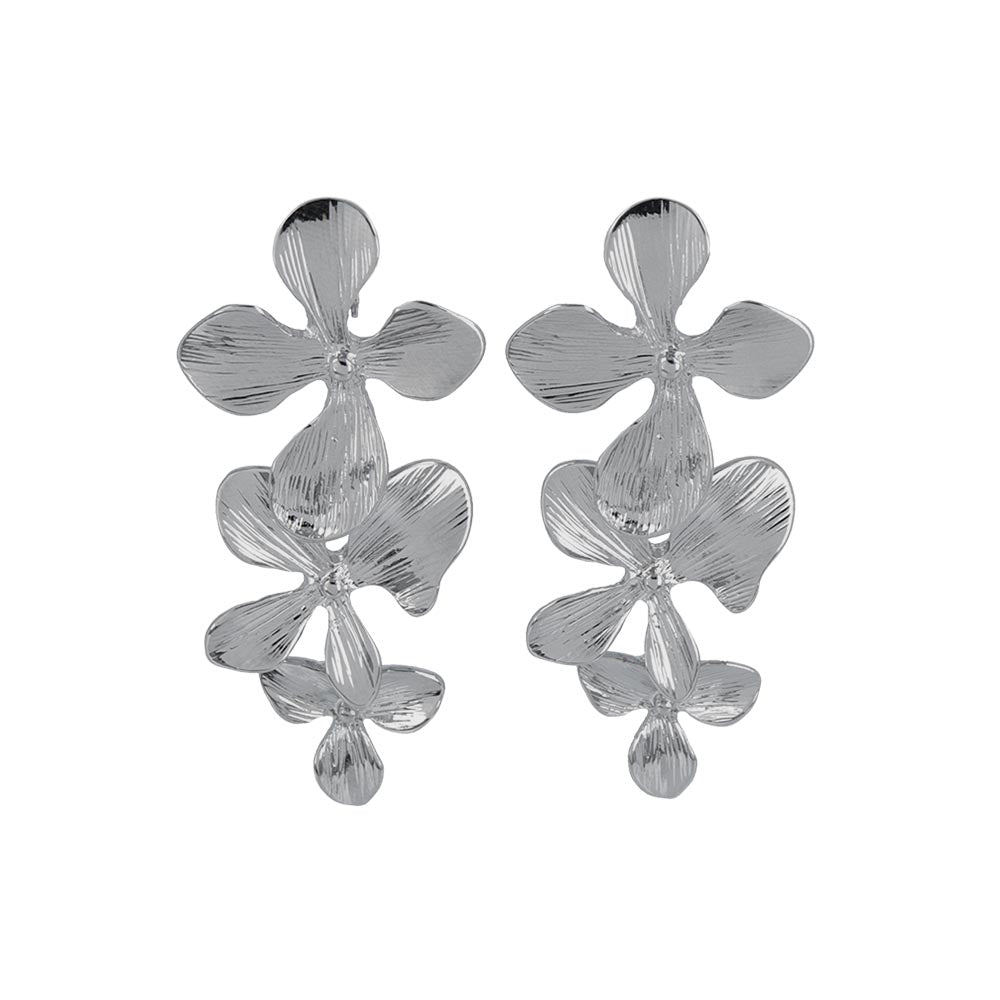 Triple Drop Flower Clip On Earrings
