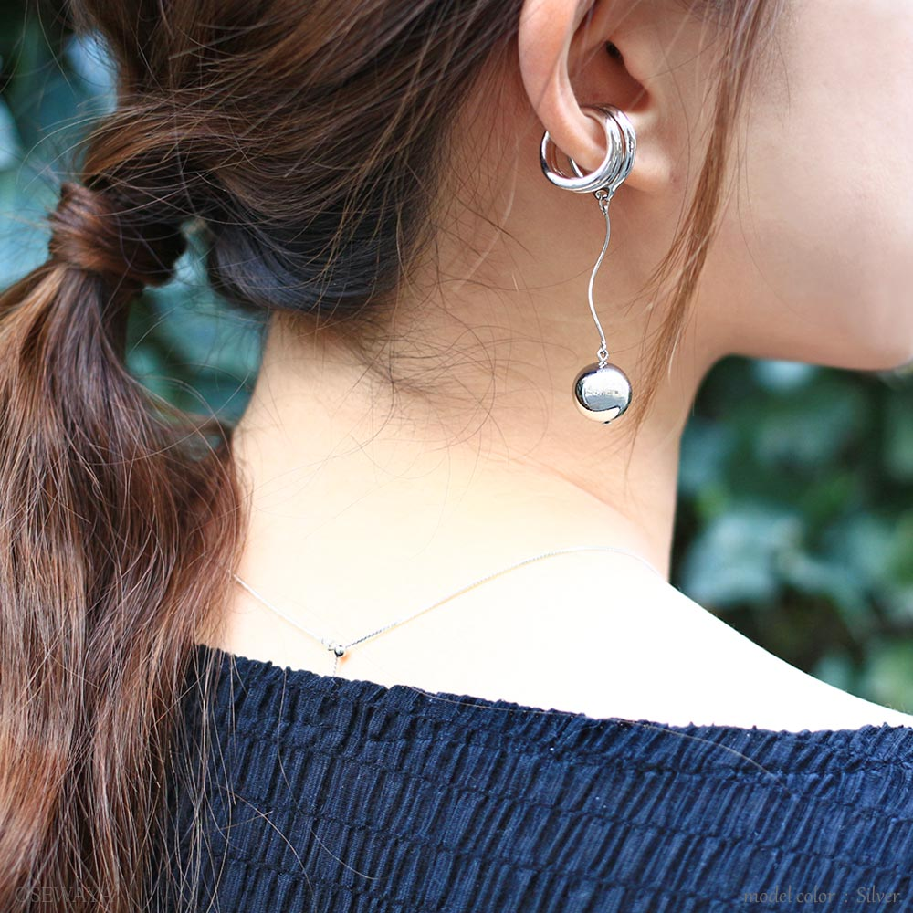 Chunky Metal Dangle Ball Ear Cuff - Osewaya