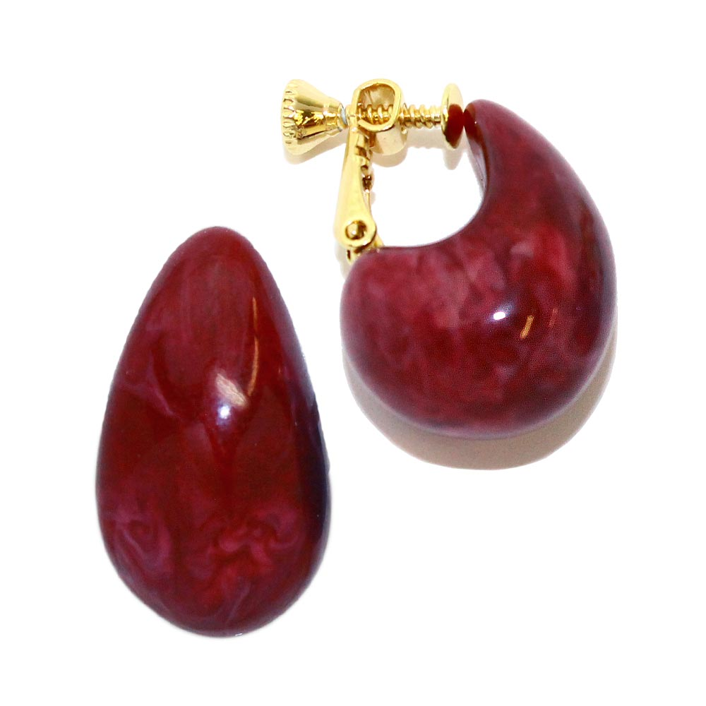 Plump Marble Resin Clip On Earrings